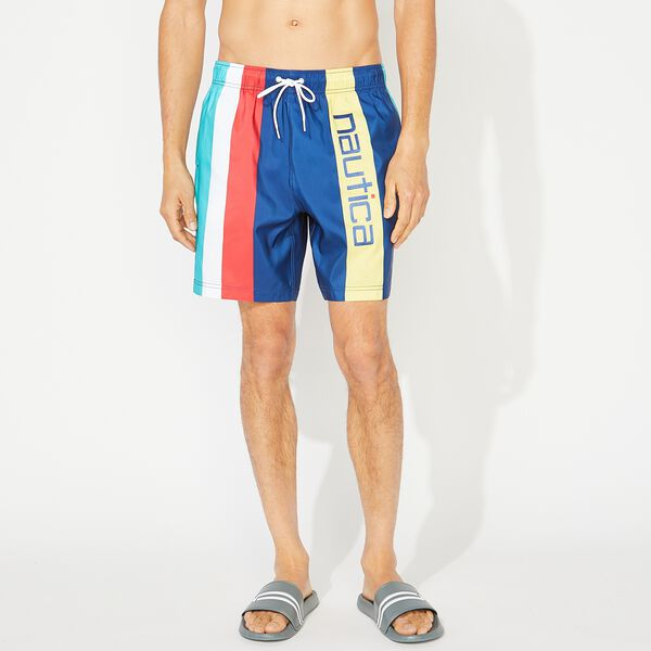 "8"" STRIPED LOGO SWIM SHORT - Estate Blue"
