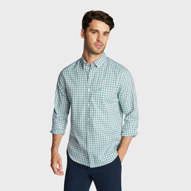 CLASSIC FIT WRINKLE RESISTANT SHIRT IN MINI PLAID,Verdant Green,large
