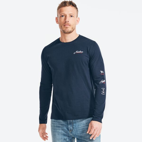 SUSTAINABLY CRAFTED GRAPHIC LONG SLEEVE T-SHIRT - Navy
