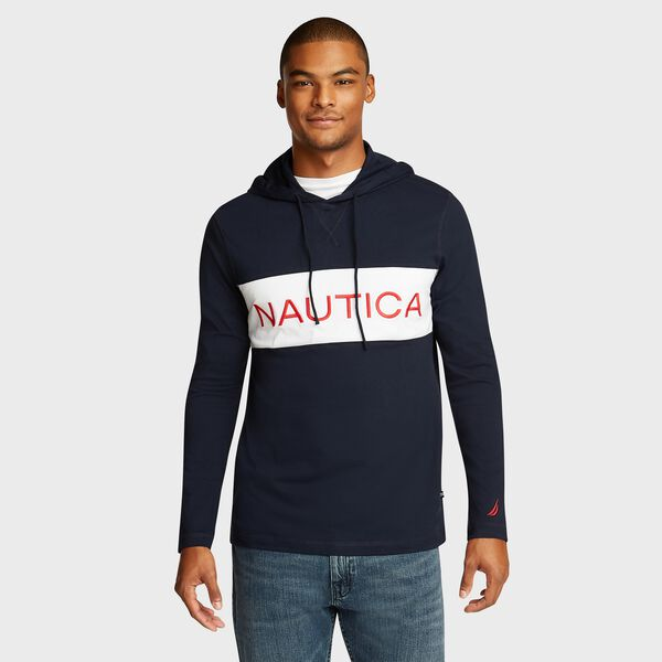 Chest Logo Beach-to-Street Hoodie - Navy