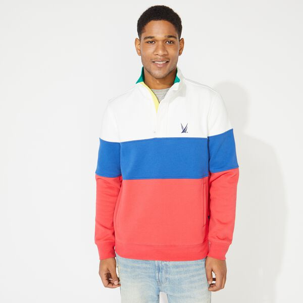 COLORBLOCK QUARTER-ZIP SWEATSHIRT - Sail White