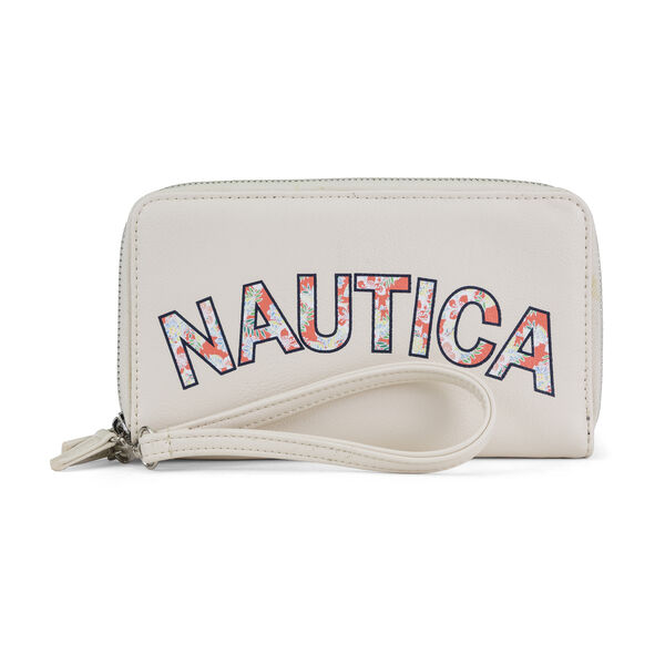 Heritage Logo Double Zip-Around Wristlet - Antique White Wash