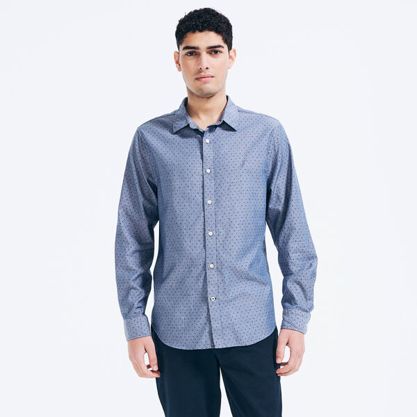 Slim Fit Twill Shirt in Print - J Navy