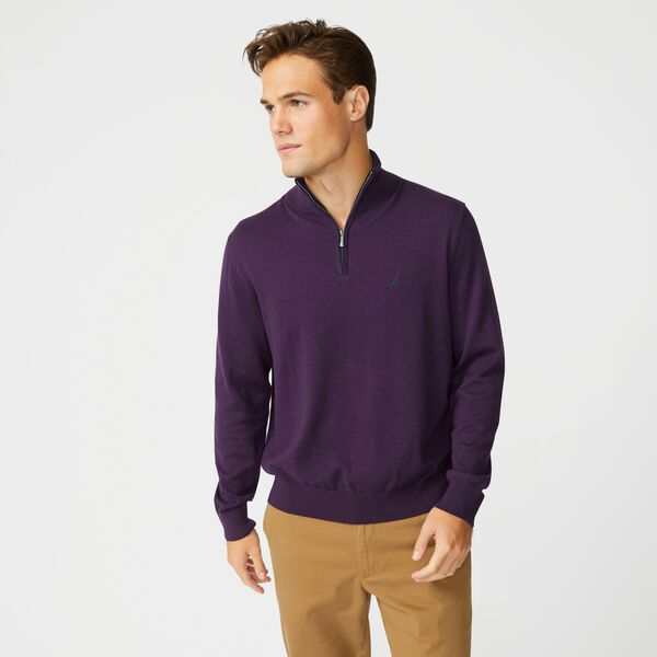 BIG & TALL NAVTECH QUARTER-ZIP SWEATER - Blackberry Heather