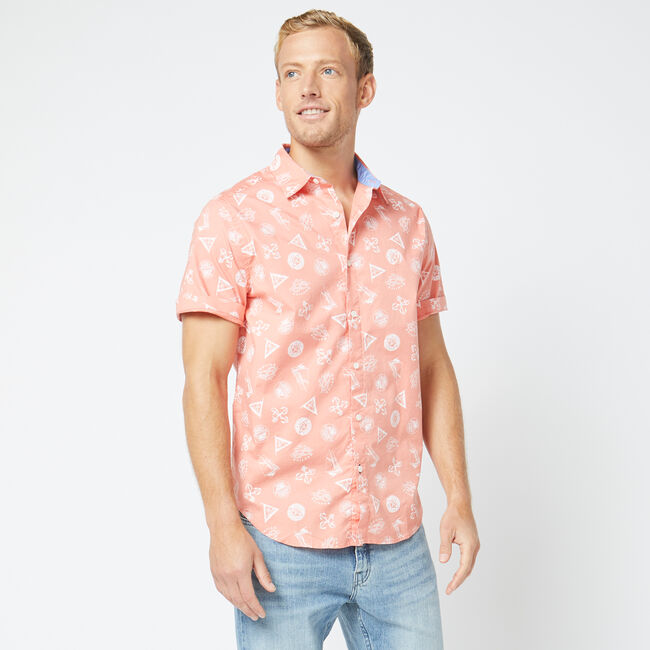 CLASSIC FIT SHORT SLEEVE ICONS SHIRT,Burnt Coral,large