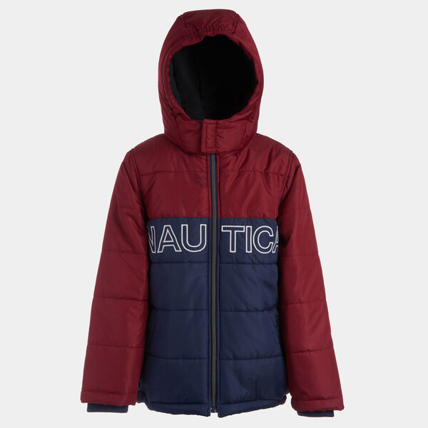 BOYS' WATER-RESISTANT COLORBLOCK LOGO BUBBLE COAT (8-20) - Rio Red
