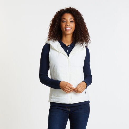 Reversible Quilted Sherpa Fleece Vest - Marshmallow
