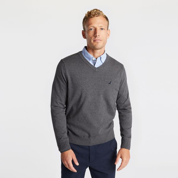 NAVTECH J-CLASS V-NECK SWEATER - Charcoal Heather