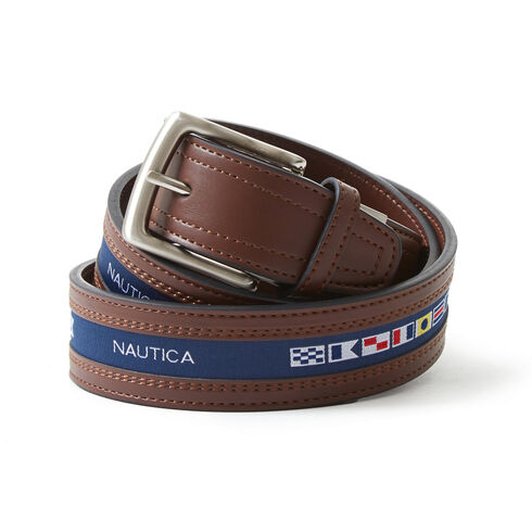 Signature Sailing Flags Belt - Brown Stone