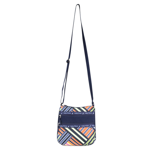 BANNER STRIPE PRINTED CROSSBODY BAG,Ice Blue,large