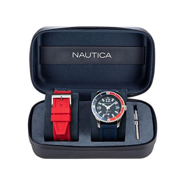 PACIFIC BEACH STAINLESS STEEL AND SILICONE 3-HAND WATCH BOX SET - Multi