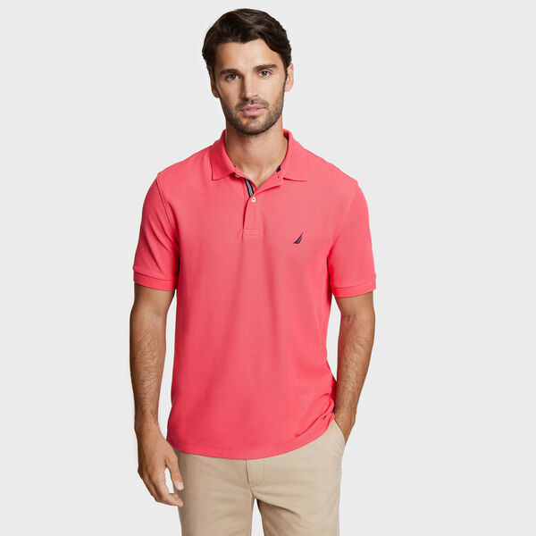 Classic Fit Solid Mesh Polo Shirt - Melonberry