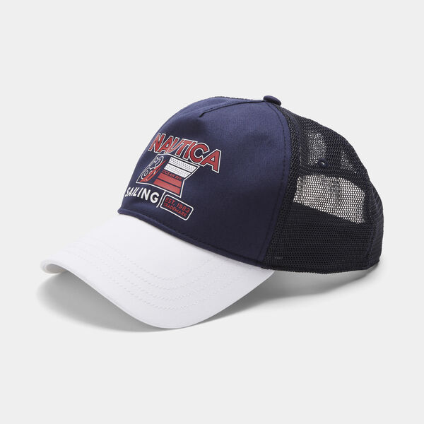 COLORBLOCK LOGO AND SAILING GRAPHIC TRUCKER CAP - Navy