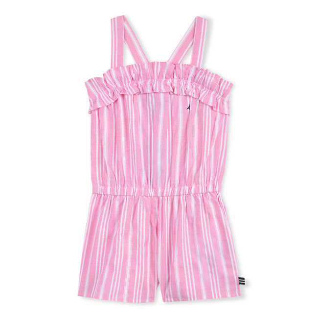 GIRLS' ROMPER IN OXFORD STRIPE,Pale Pink,large