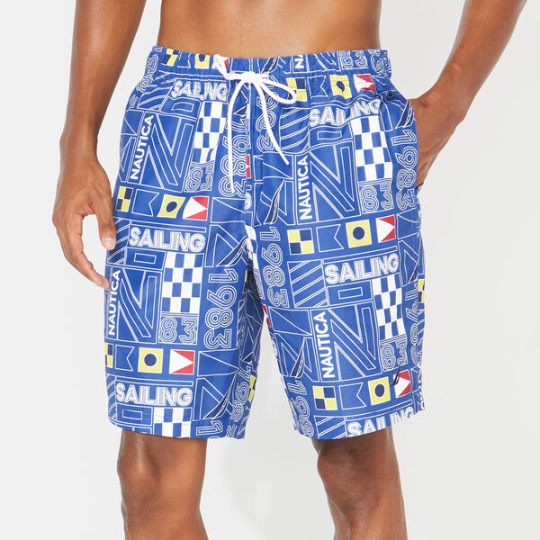 "8"" SAILING AND FLAG PRINTED SWIM TRUNKS - Windsurf Blue"