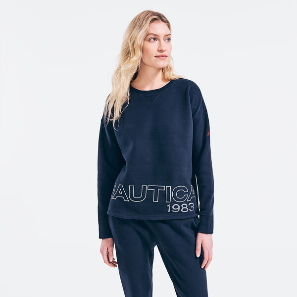 SUSTAINABLY CRAFTED 1983 LOGO GRAPHIC SWEATSHIRT - Stellar Blue Heather