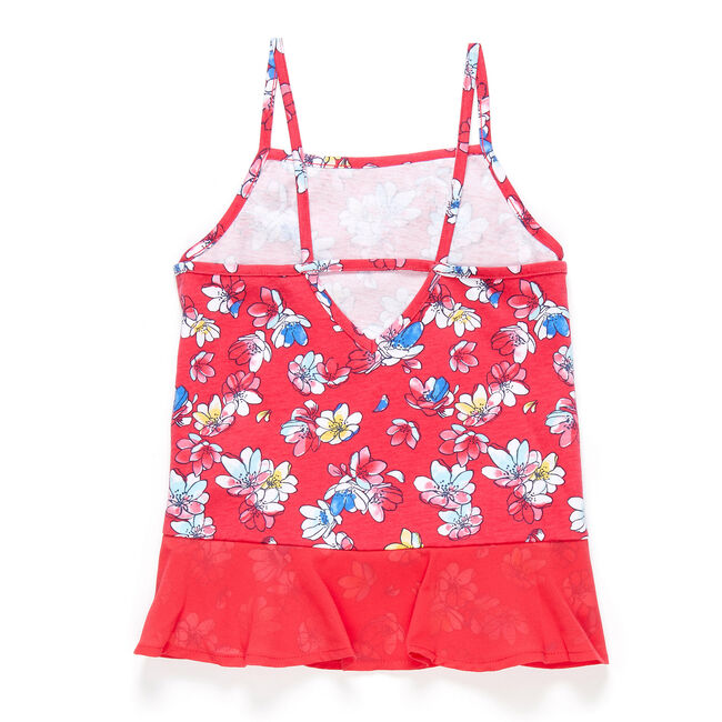 Little Girls' Jersey + Chiffon Floral Tank (4-6X),Buoy Red,large