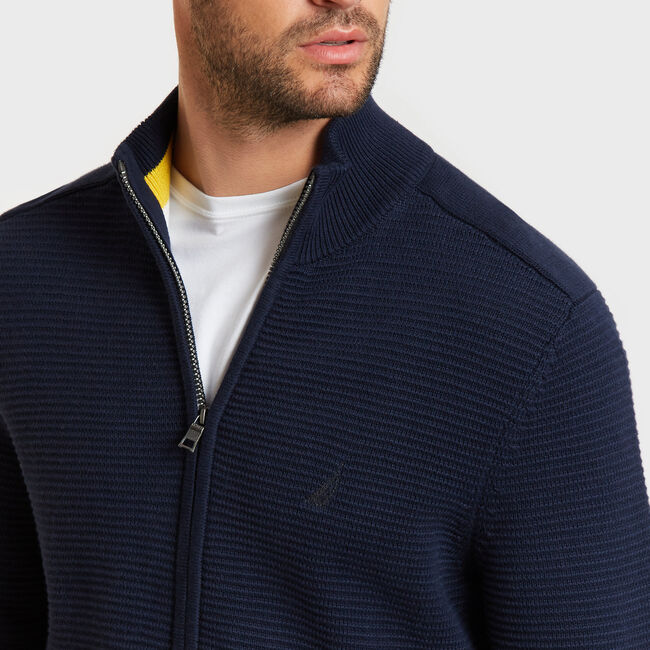 Textured Full-Zip Mock-Neck Sweater,Navy,large
