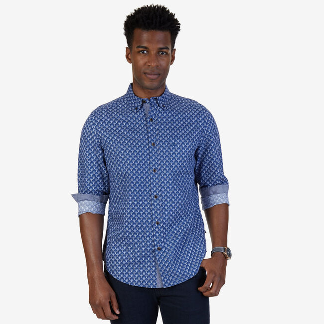 Foulard Linen-Blend Classic Fit Button Down,Estate Blue,large