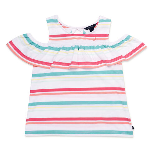 Toddler Girls' Striped Ruffled Top (2T-4T) - Firey Red