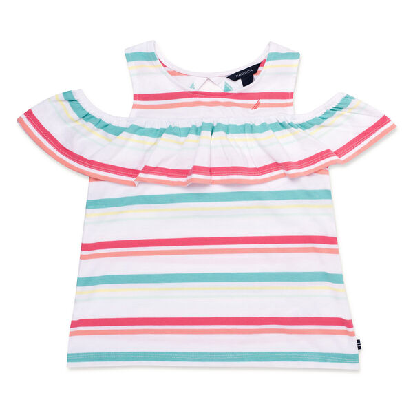 Little Girls' Striped Ruffled Top (4-6X) - Firey Red