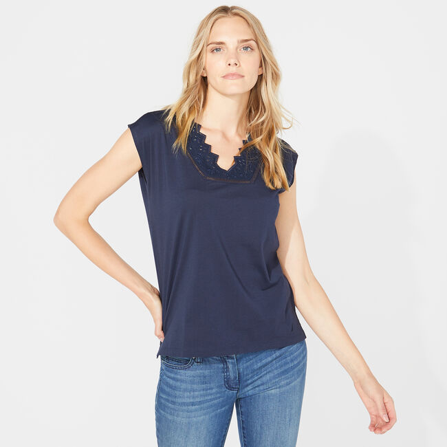 EYELET NECK KNIT TOP,Stellar Blue Heather,large