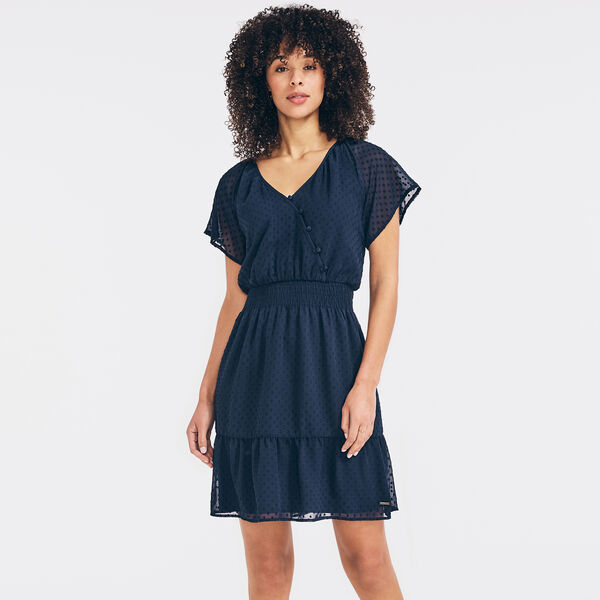 BUTTON WRAP-FRONT DRESS - Stellar Blue Heather