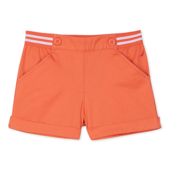 LITTLE GIRLS' STRIPED WAIST TWILL SHORTS (4-7) - Orange Sunset