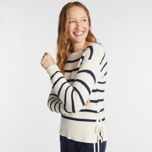 SIDE LACE UP STRIPED SWEATER  - Marshmallow