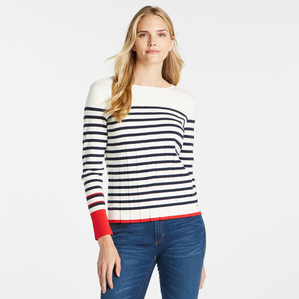 STRIPE COLORBLOCK CREWNECK SWEATER - Marshmallow