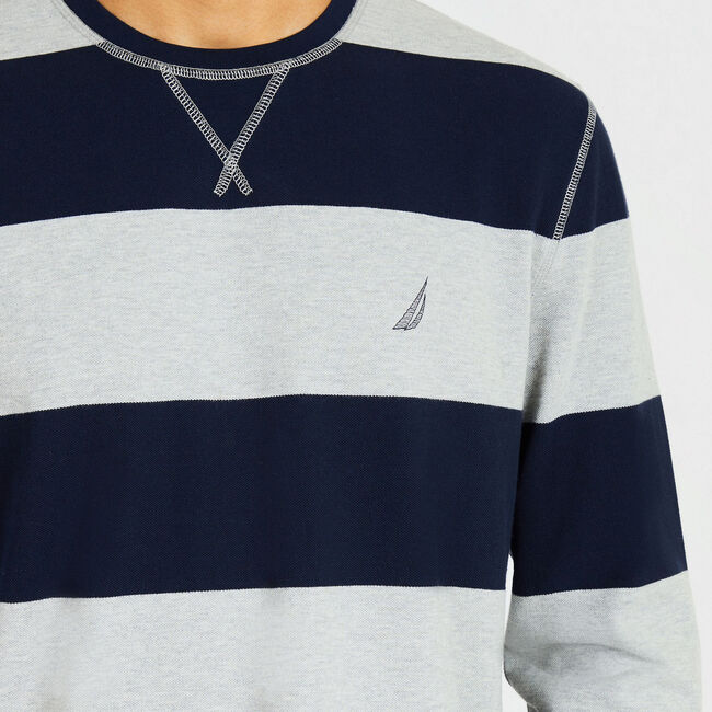 Rugby Stripe Crewneck Sweater,Grey Heather,large