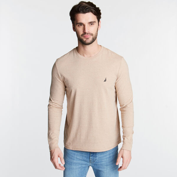 CLASSIC CREWNECK LONG SLEEVE TEE - Camel Heather