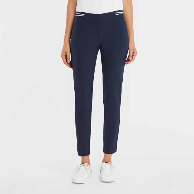 STRIPE WAIST ANKLE PANT,Stellar Blue Heather,large