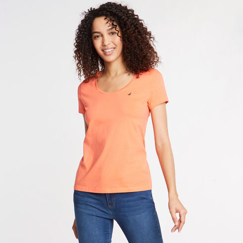 Scoop-Neck Solid T-Shirt - Vibe Orange
