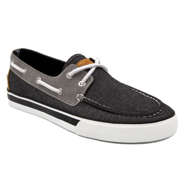 Galley Boat Shoe in Black/Grey - Black Sea Wash