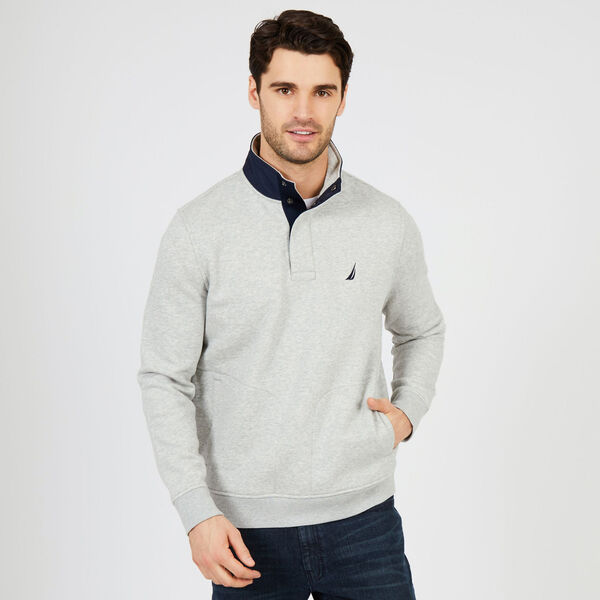 Quarter-Snap Tech Fleece Pullover - Grey Heather