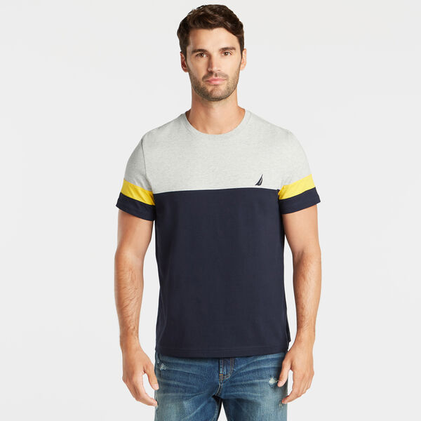 PIECED COLORBLOCK CREWNECK TEE - Grey Heather