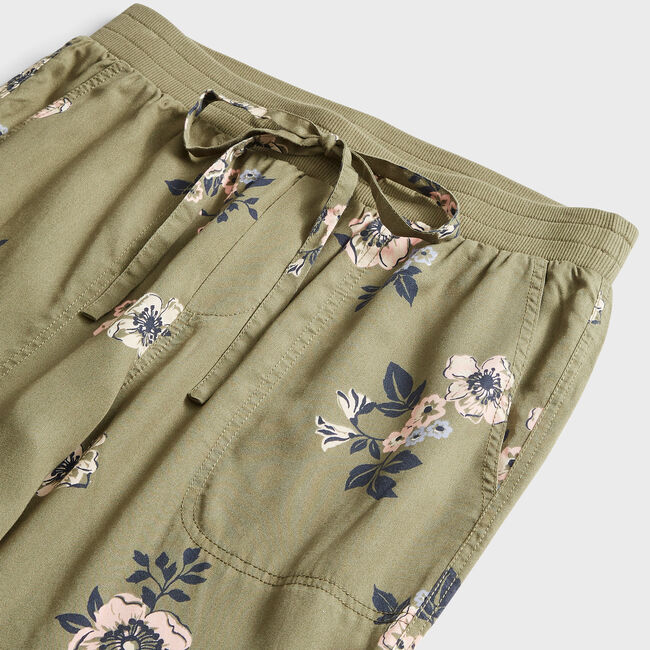 SUSTAINABLY CRAFTED FLORAL PRINT UTILITY JOGGER,Teal Wave,large