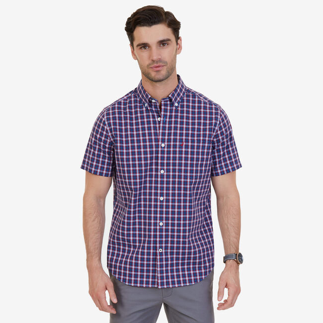 French Plaid Classic Fit Button-Down Shirt,Nautica Red,large
