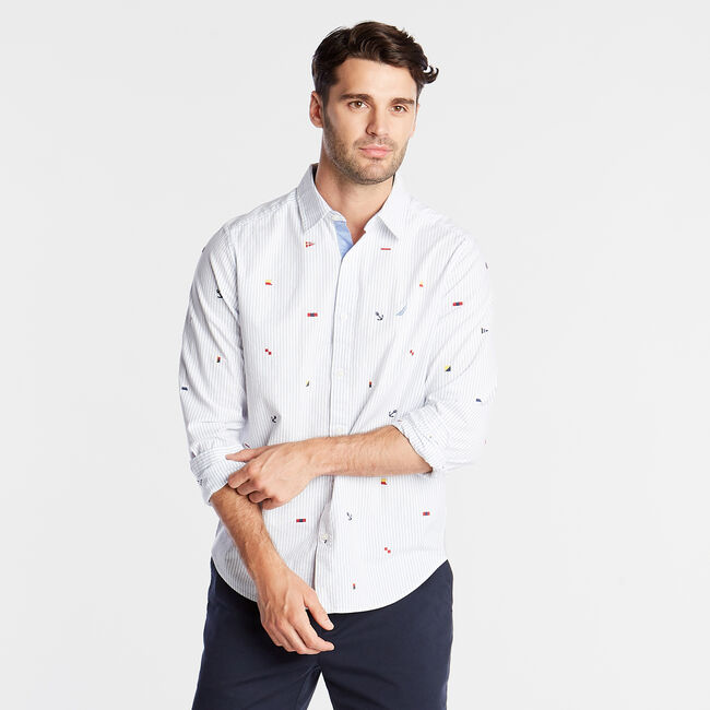 CLASSIC FIT OXFORD SHIRT IN EMBROIDERED PINSTRIPE,Bright White,large
