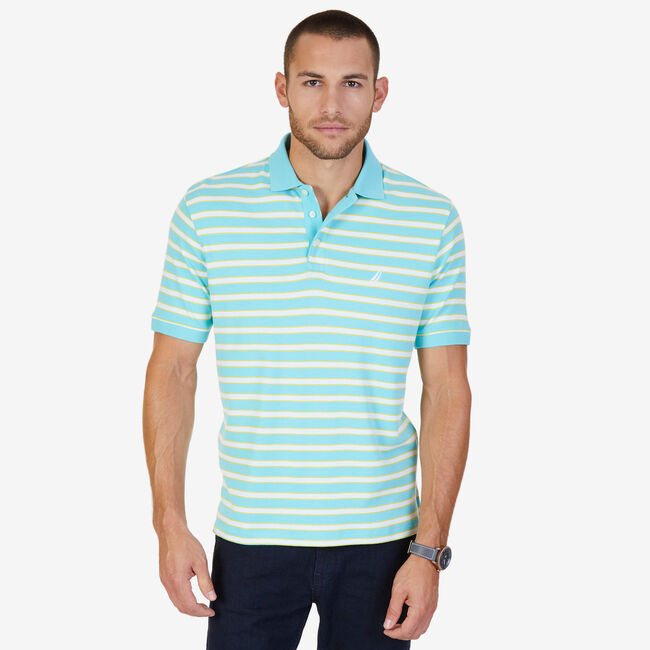 Classic Fit Striped Polo Shirt,Sapphire,large