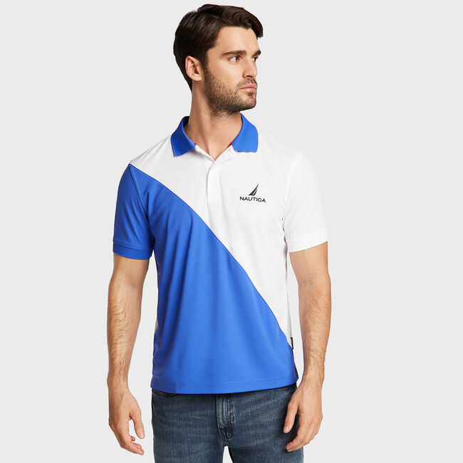 Classic Fit Navtech Diagonal Colorblock Polo,Bright White,large