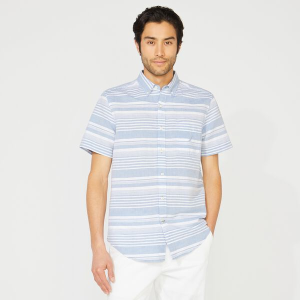 STRIPED LINEN SHORT SLEEVE SHIRT - Star Sapphire