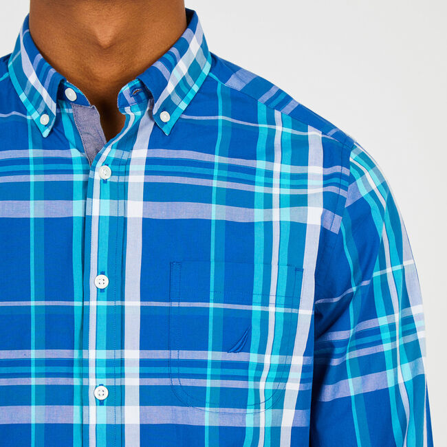 Long Sleeve Exploded Plaid Button Down,Monaco Blue,large