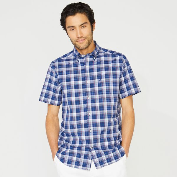 BIG & TALL CLASSIC FIT WRINKLE RESISTANT PLAID SHIRT - Blue Depths