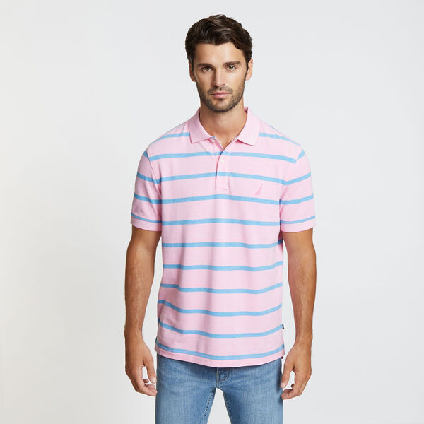 Classic Fit Striped Mesh Polo - Petunia