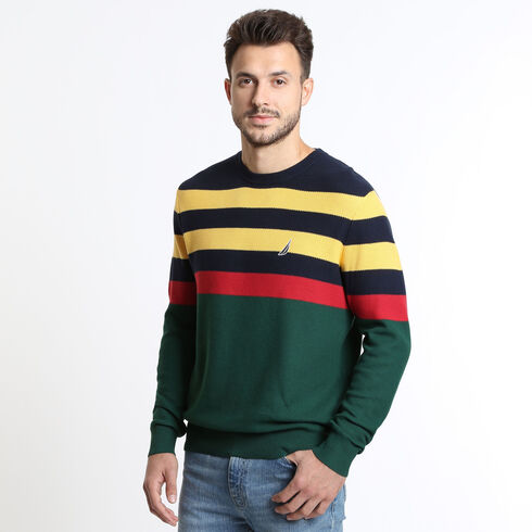 Honeycomb Striped Crewneck Sweater - Forest