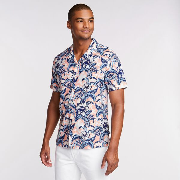 Linen Blend Camp Shirt in Tropical Print - pink