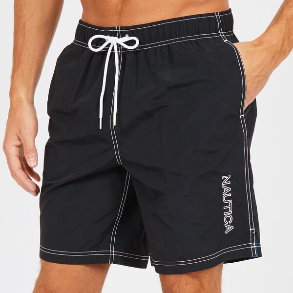 "8"" SOLID EMBROIDERED LOGO SWIM TRUNKS - True Black"
