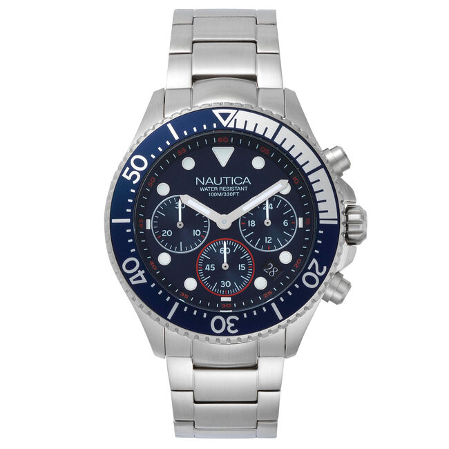 Westport Stainless Steel Chronograph Watch,Navy,large